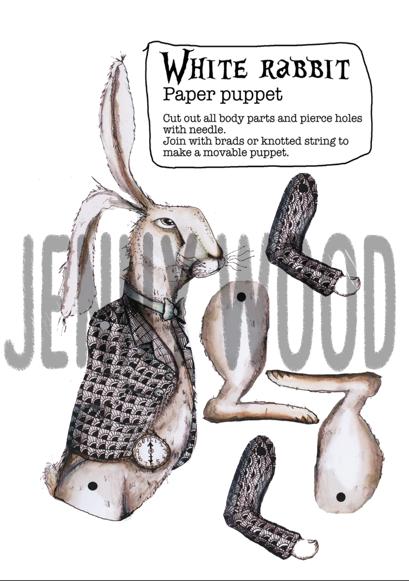 White rabbit puppet card