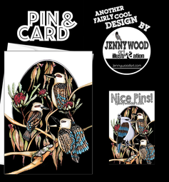 Kookaburra pin and card $12