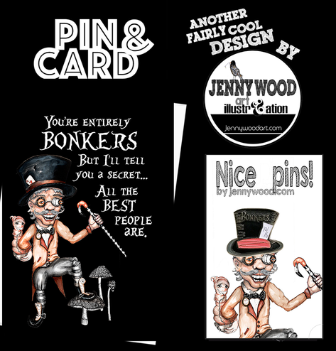 Mad Hatter pin and card $12