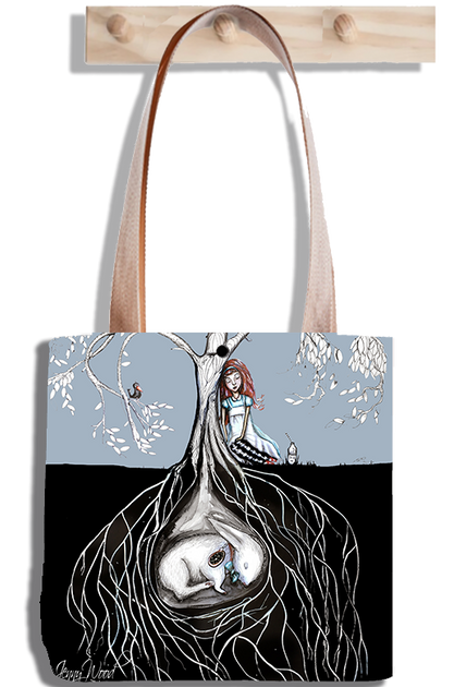 Alice and hare under tote bag