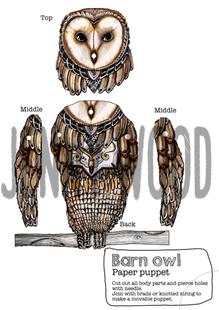 Barn owl puppet card