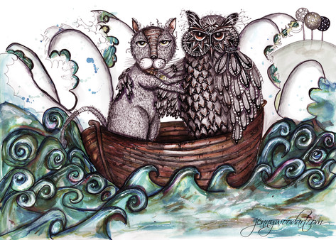 Owl and alley cat