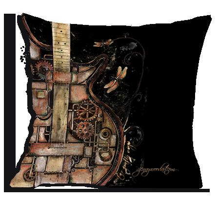 Steampunk guitar cushion cover
