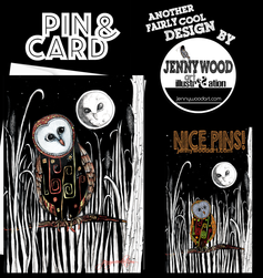Owl and moon pin and card $12