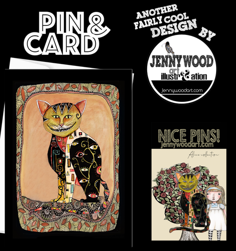 Cheshire cat pin and card $12