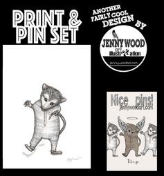 Ringo possum lapel pin and A4 print