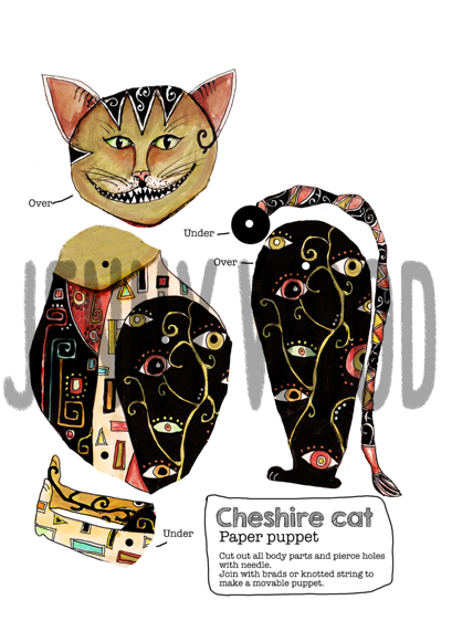 Cheshire cat puppet card