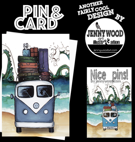 Hipster pin and card $12