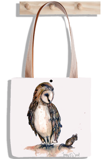 Owl and mouse tote bag