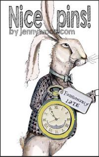 White rabbit lapel pin