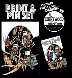 Kookaburra pin and A4 print $18