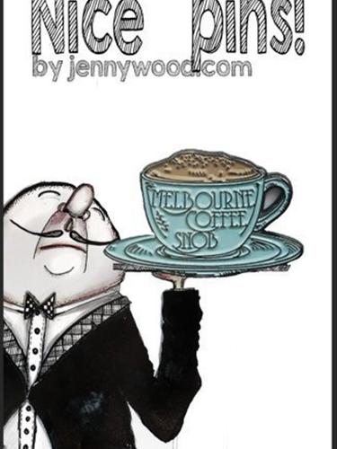 Melbourne coffee snob lapel pin