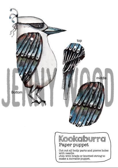 Kookaburra puppet card