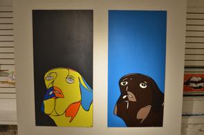 Yellow Puppy, Brown Dog