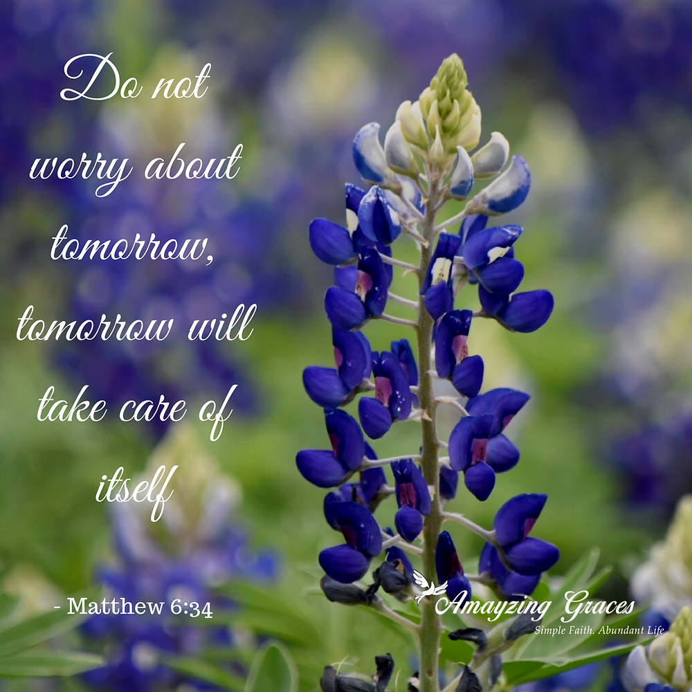 Do not worry about tomorrow, tomorrow will take care of itself, Matthew 6 34, Karen May, Amayzing Graces, devotional, inspirational blog