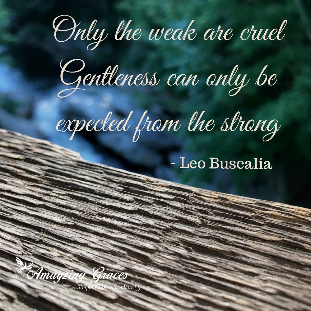 Only the weak are cruel Gentleness can only be expected from the strong, Leo Buscalia, Fruits of the Spirit, Karen May, Amayzing Graces