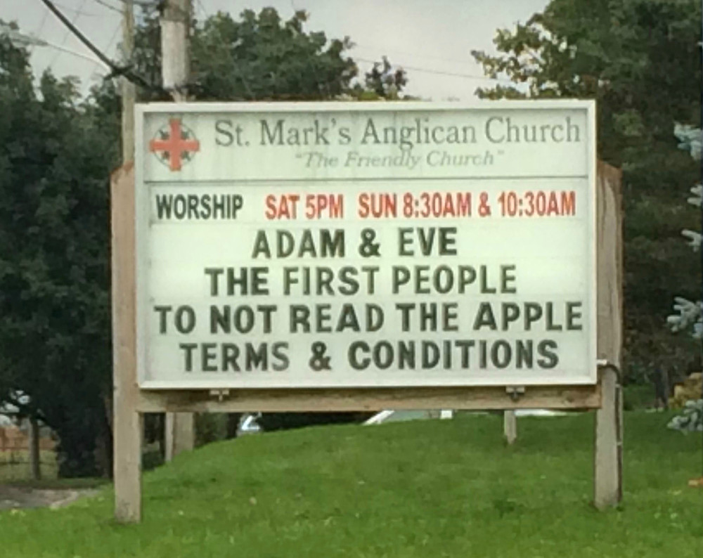 funny church signs, Adam and Eve, the first people to not read the Apple terms and conditions, Karen May, Amazing Graces