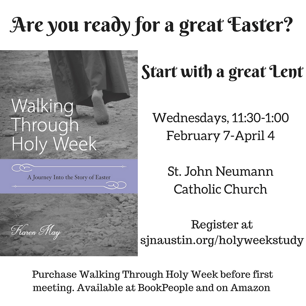Walking Through Holy Week study announcement, Karen May, Amayzing Graces