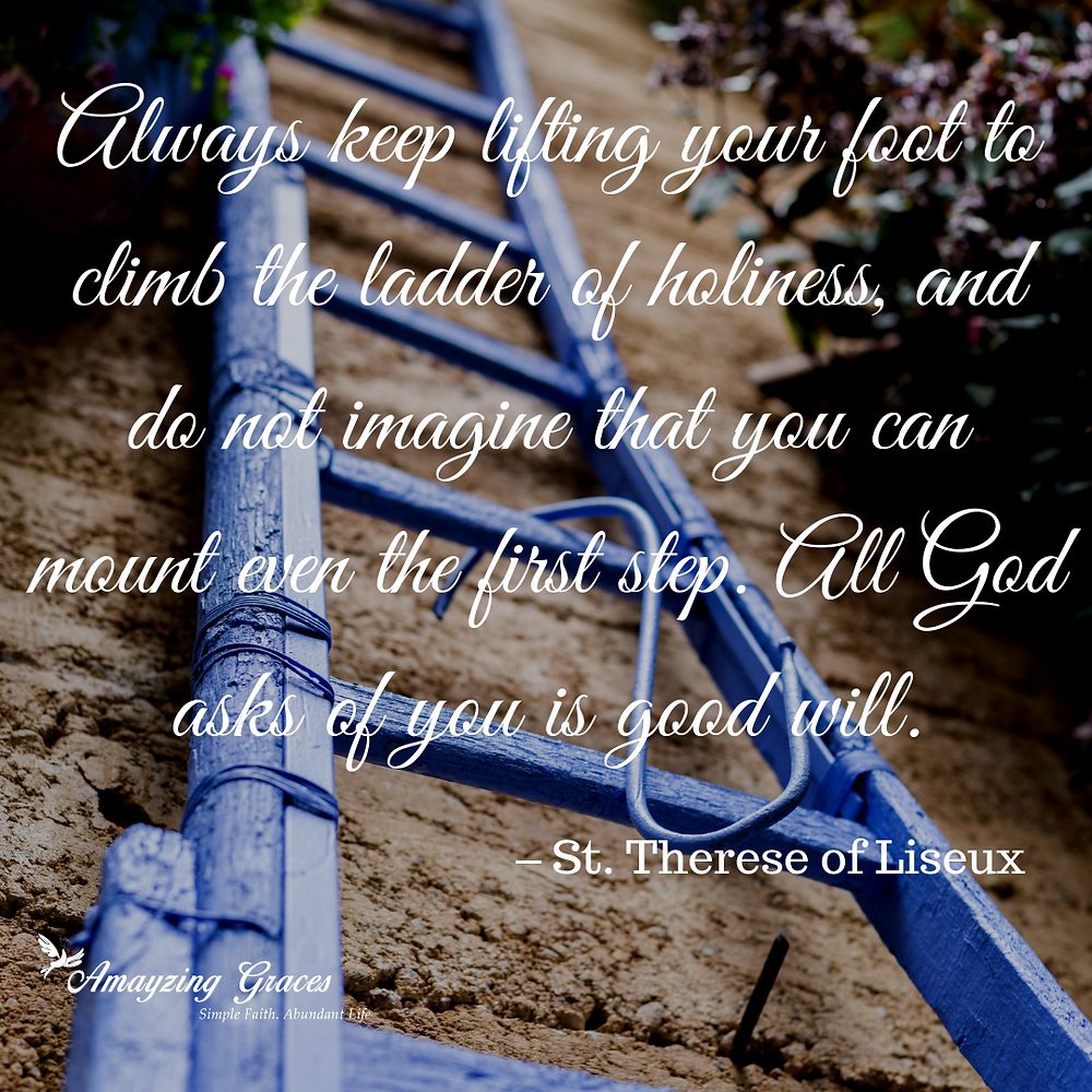 Always keep lifting your foot to climb the ladder of holiness, and do not imagine that you can mount even the first step. All God asks of you is good will. St. Therese of Liseux, Karen May