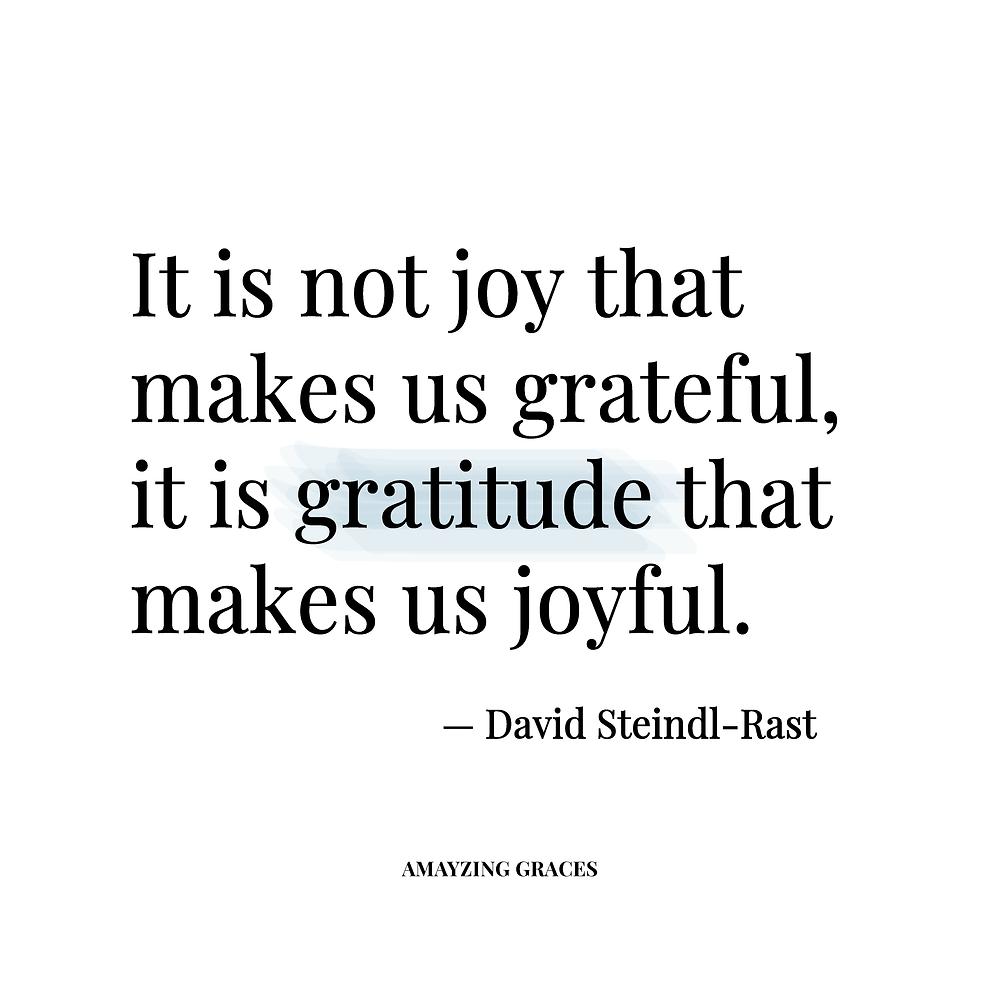 It is not joy that makes us grateful, it is gratitude that makes us joyful, David Steindl-Rast, Karen May, Amayzing Graces