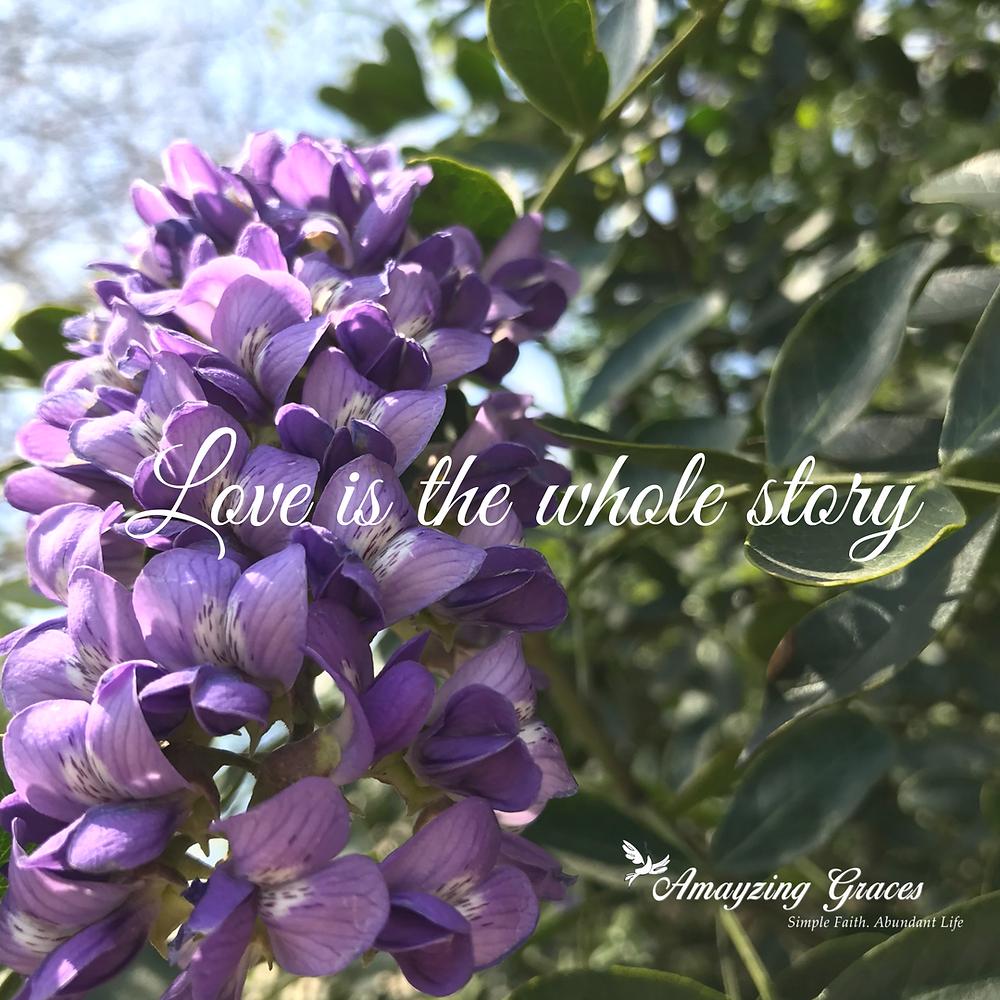 Love is the whole story, Karen May, Amayzing Graces, Lent, Easter, Holy Week, inspirational, spiritual, Catholic, Christian