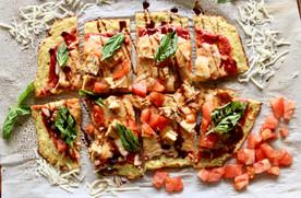 Chicken Caprese Cauliflower Pizza