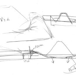 展覧会では中心に富士山のミニチュアセットを制作しました。構造についての考察。