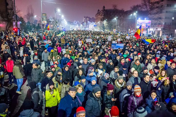Unirii nach einem Facebook Live Video der Anti-Korruptions-Proteste in Bukarest vom 3.2.2017 @Leipzi