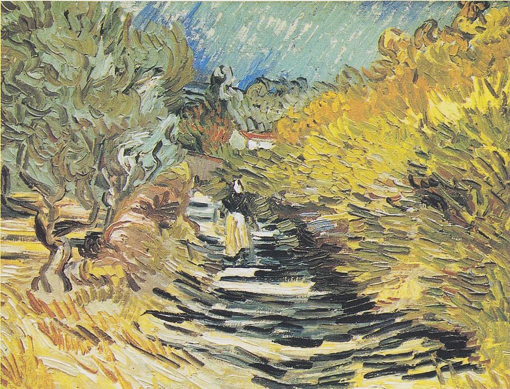 """Vincent von Gogh, """"Straße in Saint-Rémy-de-Provence mit weiblicher Figur"""""""