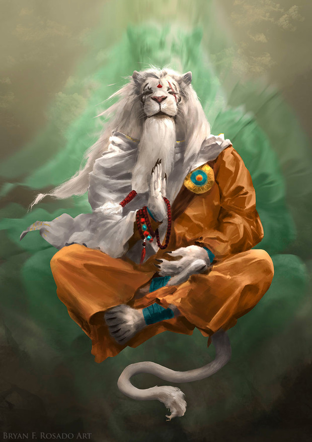 I redesigned Ajani as someone tired of wars and battles, finding peace at the outer edges of the Multiverse, far from the conflicts of fellow planeswalkers. Ajani Goldmane © Wizards of the Coast