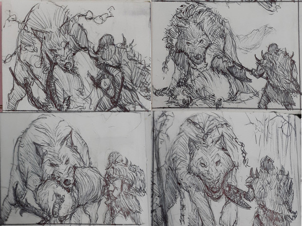 Thumbnail sketches. I like to start every illustration with traditional thumbnails to define the composition as early as possible, and to guide my mind to see if the idea is worth pushing.
