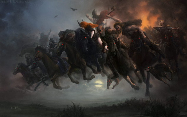 Personal work.   According to the folklore The Wild Hunt is an European myth typically involving a ghostly or supernatural group of hunters passing in wild pursuit lead by a famous legendary figure of the region where it is told. The legend is often associated with bad omens or at best the death or abduction of the one who witnessed it.  My last work from 2019. I had this one in the line to be finished since 2017. I was heavily influenced by the work of Peter Nicolai Arbo and other classical painters, especially the scandinavians.