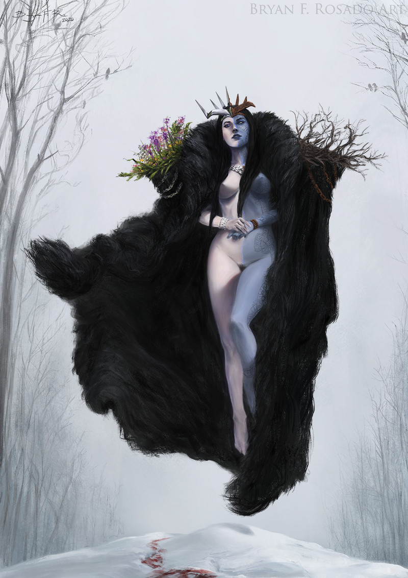 """This is my version of Hel, goddess of the dead and ruler of Niflheim for the Character Design Challenge! Facebook Group.  The month's theme was """"Norse Gods"""". I've added to the challenge rules to also put some storytelling and to fit the composition in a """"cover format"""". I really liked this month's theme!"""