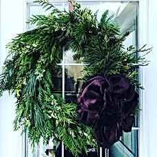 mixed greens wreath brown bow .JPG