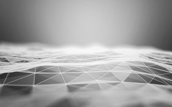 Abstract Polygonal Space Black and White Background with Low Poly Connecting Dots and Lines - Connec