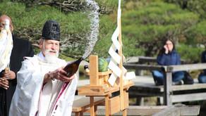 Rev. koichi barrish blesses Seattle Japanese garden at reopening