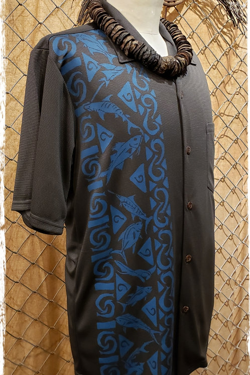 Dark GrY Bamboo Aloha Shirt with Blue Fish and Fishhooks
