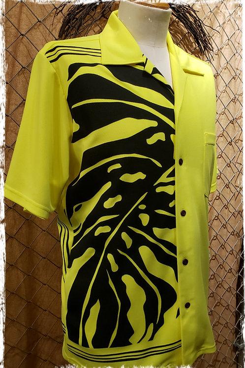 Safety Yellow  Aloha Shirt with Black Monstera