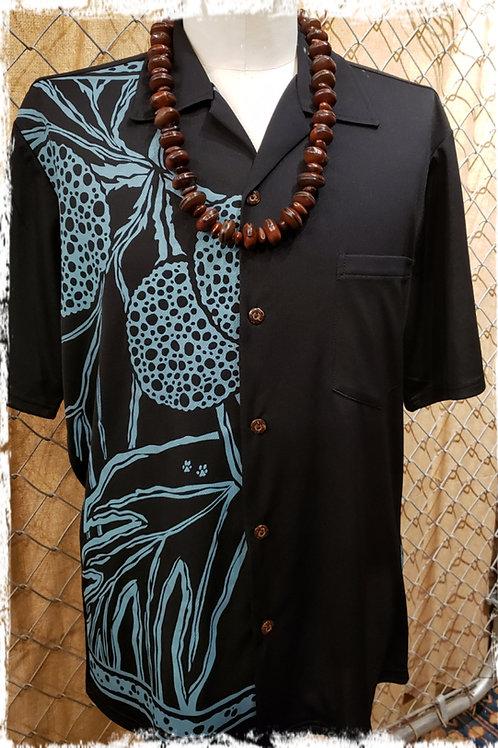 Black Aloha Shirt with Aqua Ulu
