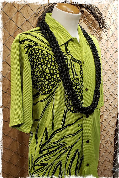 Lime Bamboo Aloha Shirt with Black Ulu