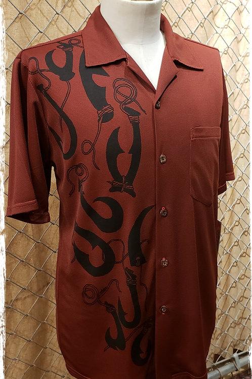 Dark Red Bamboo Aloha Shirt with large fishhooks