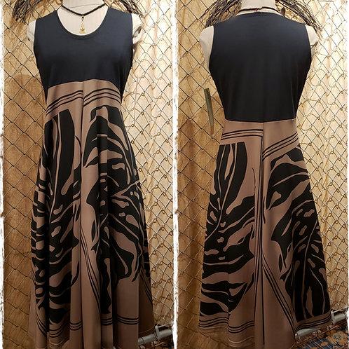 Tan & Black Lycra Panel  D80 Dress