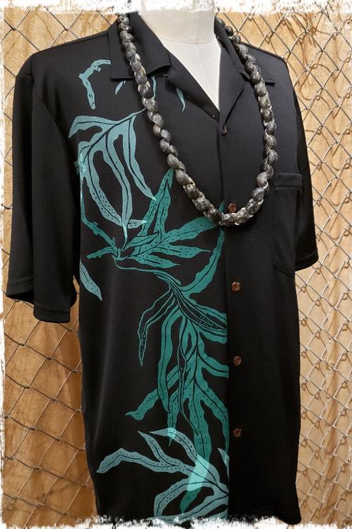 Black Aloha Shirt with Green Lauae