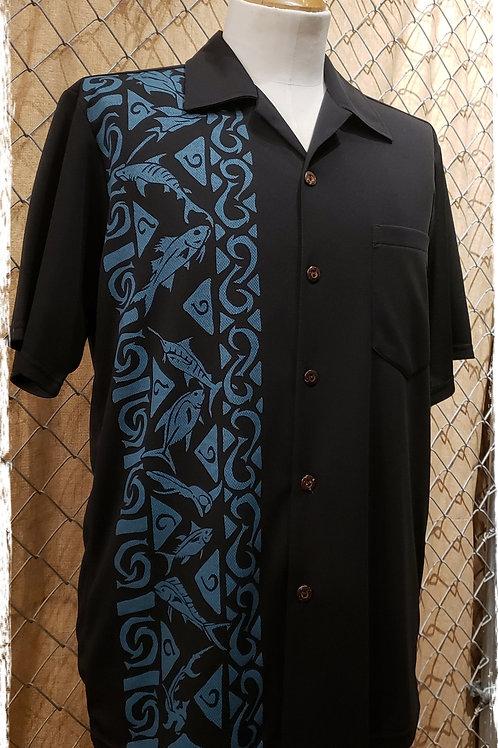Black Aloha Shirt with aqua fish and fishhooks