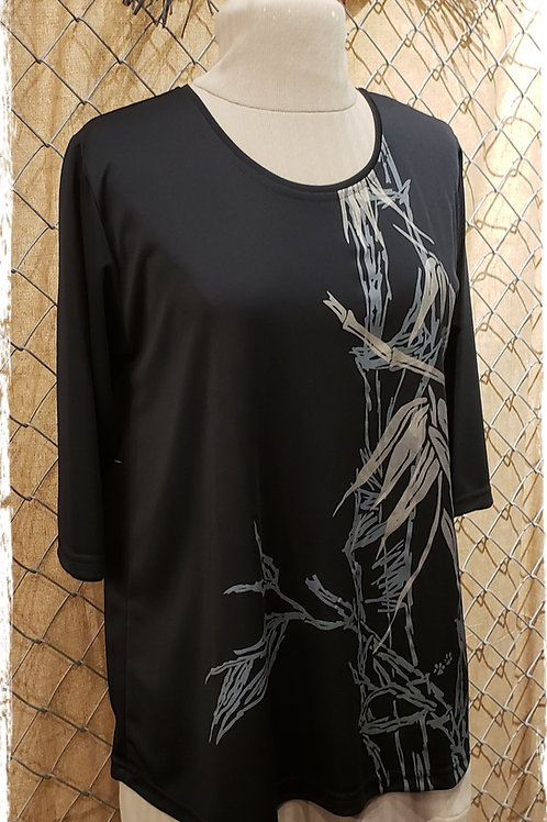 Black T4 top with bamboo print