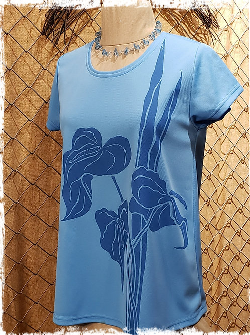 Robin's Egg Blue T4 with Anthurium