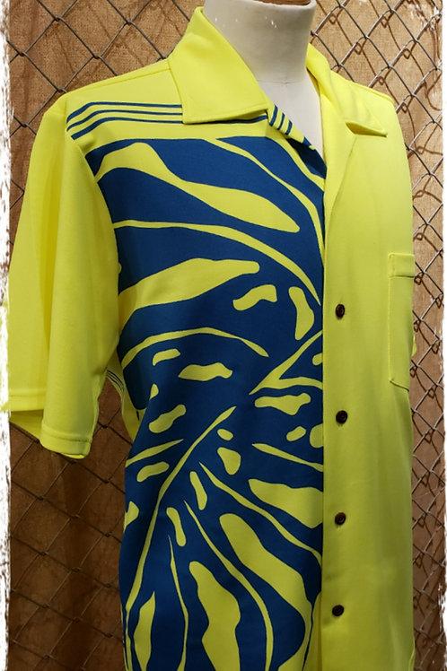Safety Yellow  Aloha Shirt with Blue Monstera