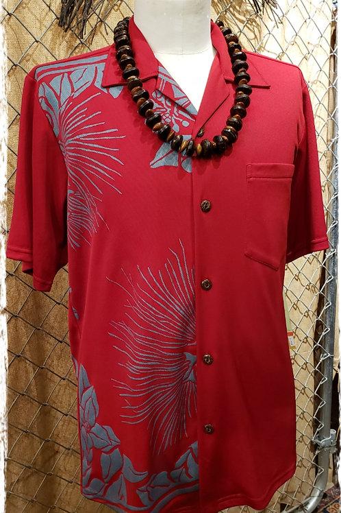 Ruby Red Aloha Shirt with Aqua Fishhooks