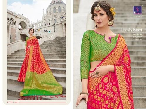MC Design  KANTHAKALA SILK SAREES - RED SAREE WITH CONTRAST GREEN PALLU