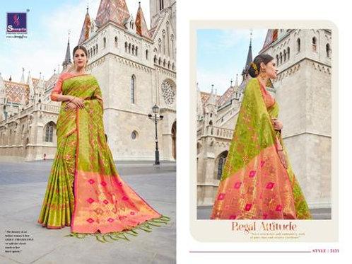 MC Design  KANTHAKALA SILK SAREES - GREEN SAREE WITH LIGHT PINK PALLU
